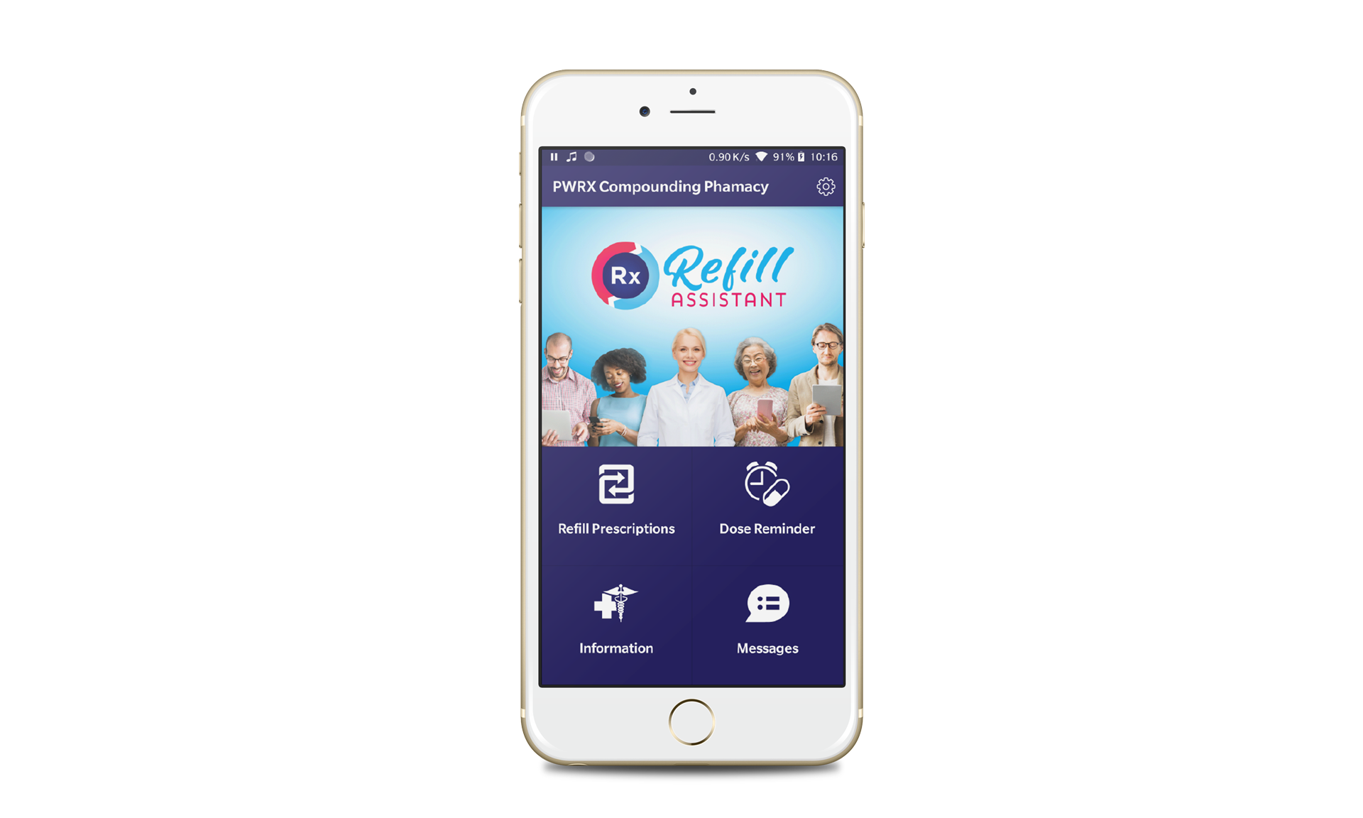 refill assistant Branded app on an iPhone