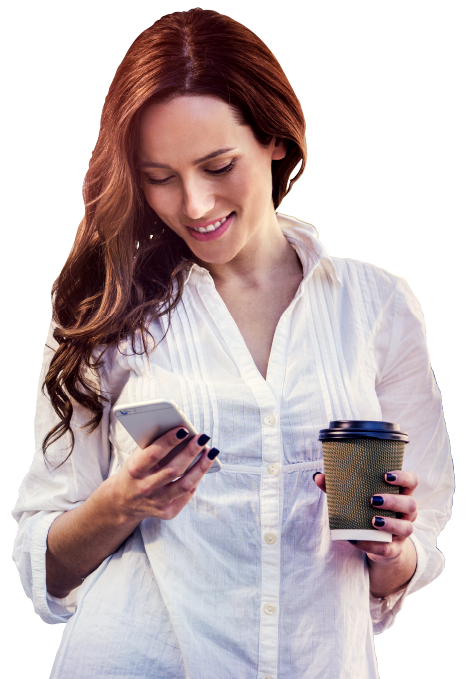 Woman using Refill Assistant Mobile App